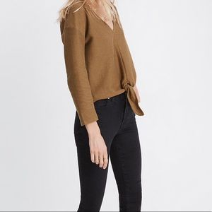 Madewell Tops - Madewell Olive Green Long-Sleeve Tie-Front Top